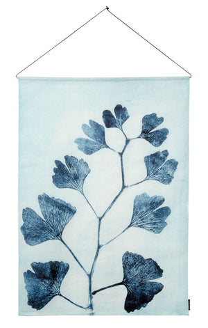 Textile Wall Hanging 100x140 cm ginkgo ink, incl. metal sticks