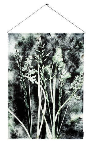 Textile Wall Hanging 100x140 cm grass charcoal, incl. metal sticks