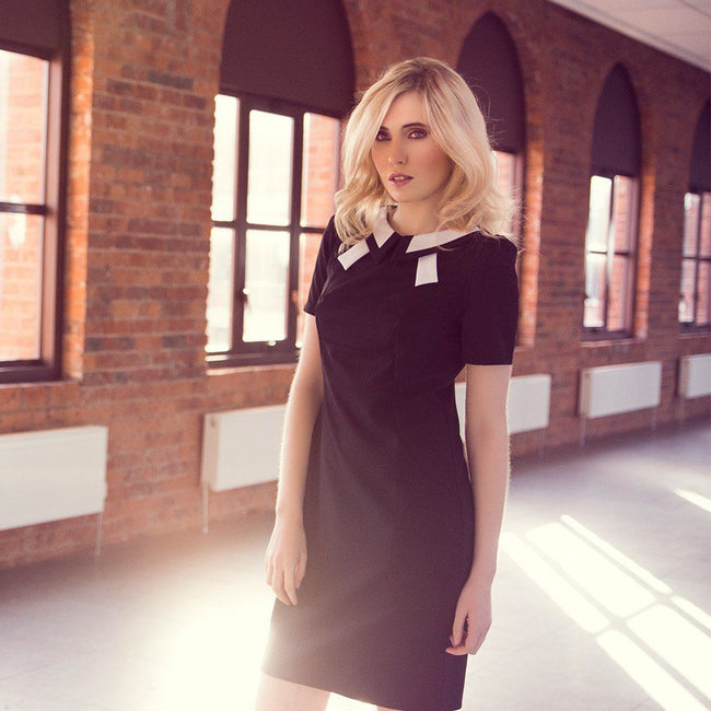Black and White Contrast Collar Dress Nife Dresses