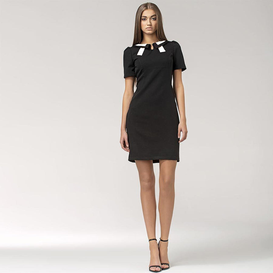 Black and White Contrast Collar Dress - Nife - Eponymous
