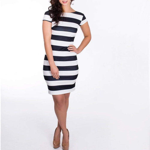 Black & White Striped Bodycon Dress with Low Back WE Dresses