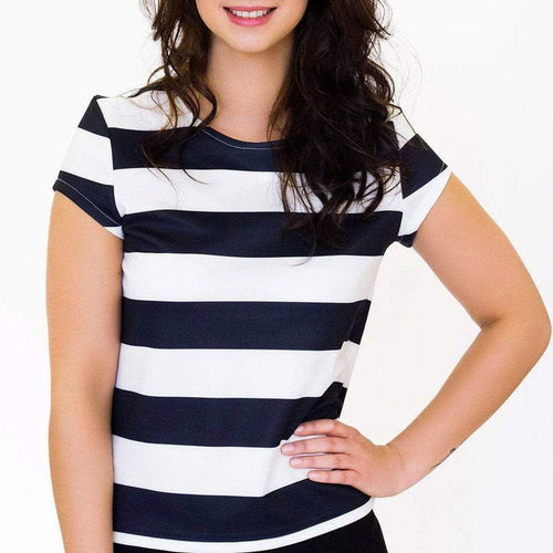 Black & White Striped Top with Capped Sleeves WE Tops