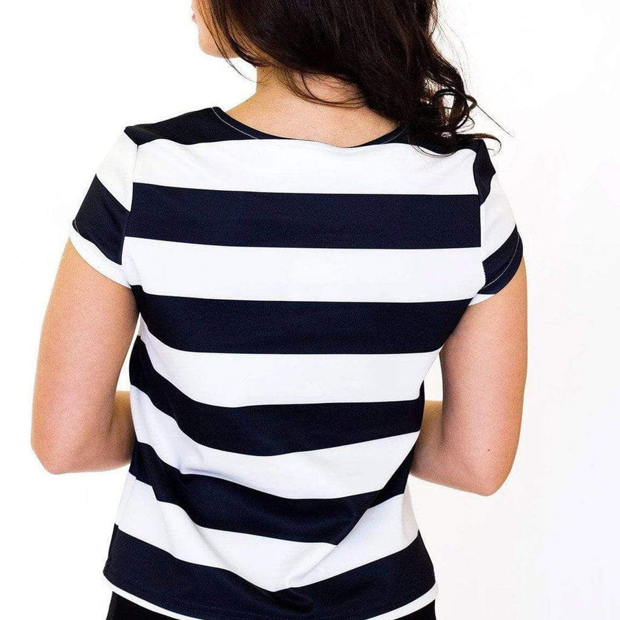 Black & White Striped Top with Capped Sleeves - WE - Eponymous