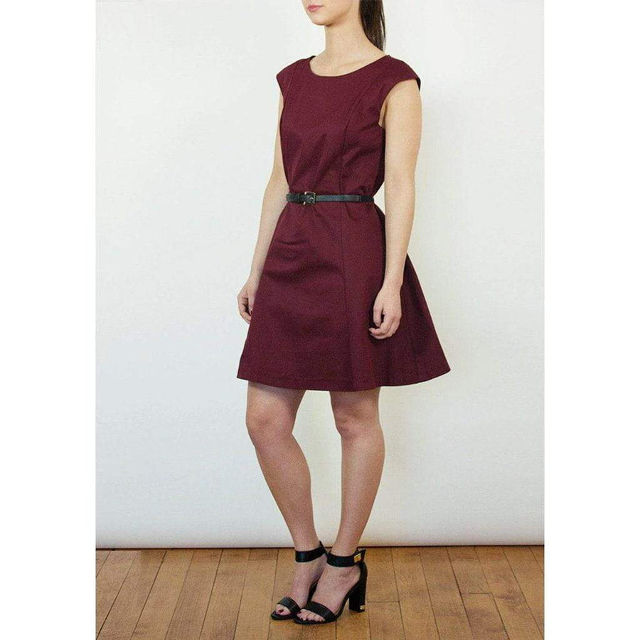 Bordeaux Red Belted Dress - WE - Eponymous