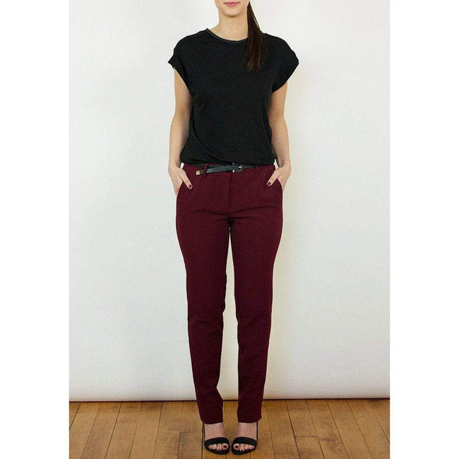 Bordeaux Red Straight Leg Trousers with Black Side Stripe WE Trousers