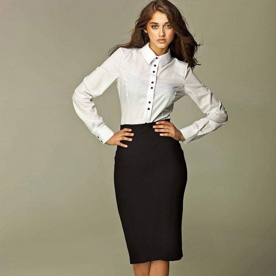 Classic Pencil Skirt in Black - Nife - Eponymous