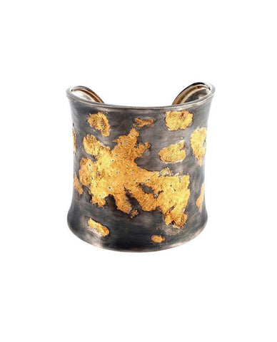 Extra Wide Oxidised Sterling Silver Cuff with 24 Karat Gold Leaf Zeynep Alppay Fine Bracelets