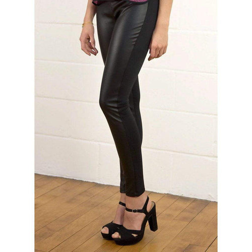 Faux Leather Panel Leggings WE Trousers