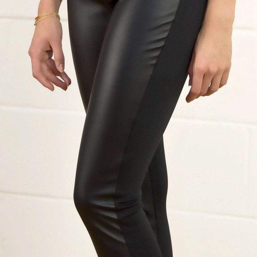 Faux Leather Panel Leggings - WE - Eponymous