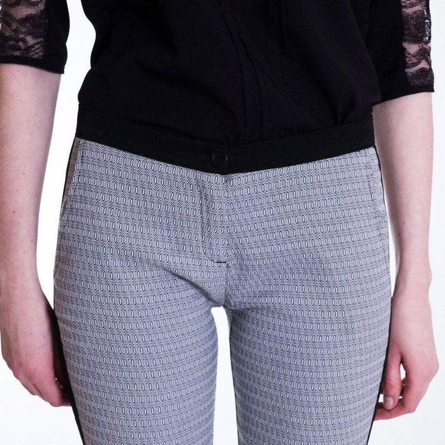 Grey Jacquard Skinny Stretch Trousers - WE - Eponymous