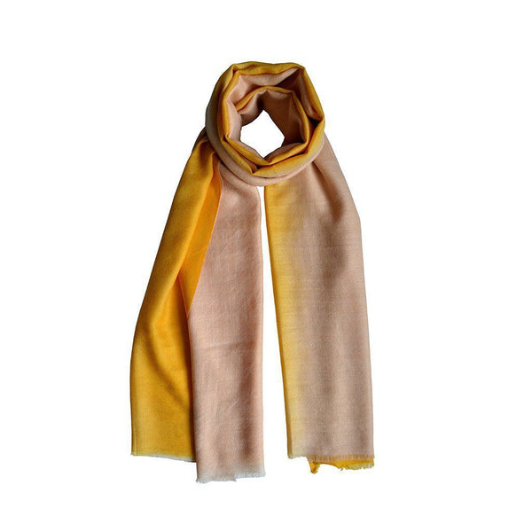 Ivory & Sunglow Ombre Cashmere Scarf KOPḖ London Cashmere Scarves