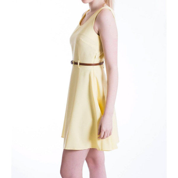 Lemon Yellow Pastel Skater Dress MOE Dresses