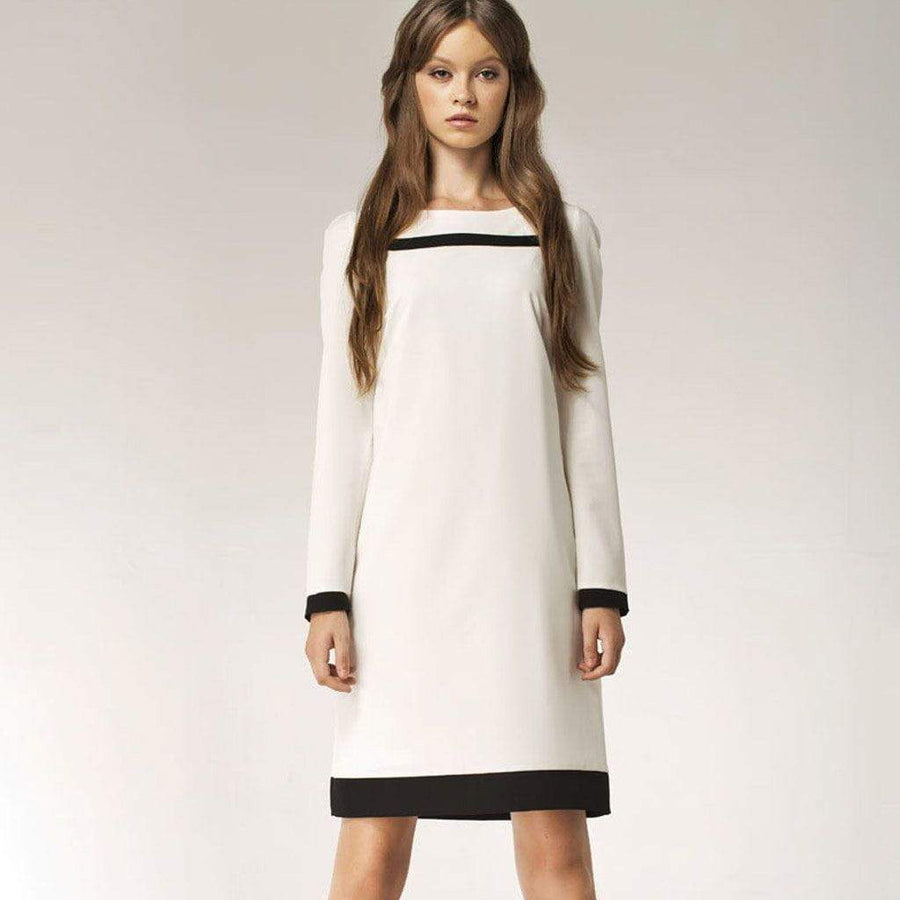 Black and White Long Sleeved Shift Dress - Nife - Eponymous