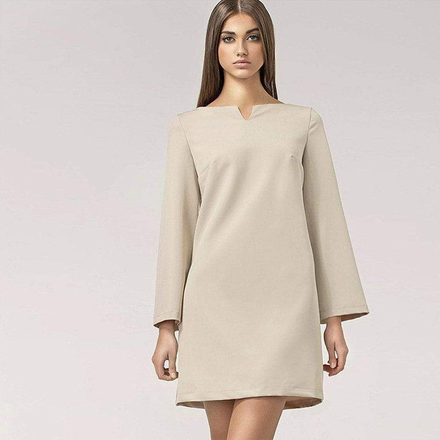 Beige 60s Shift Dress with Bell Sleeves - Nife - Eponymous