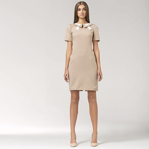 Neutral Contrast Collar Dress UK 8 / Beige Nife Dresses