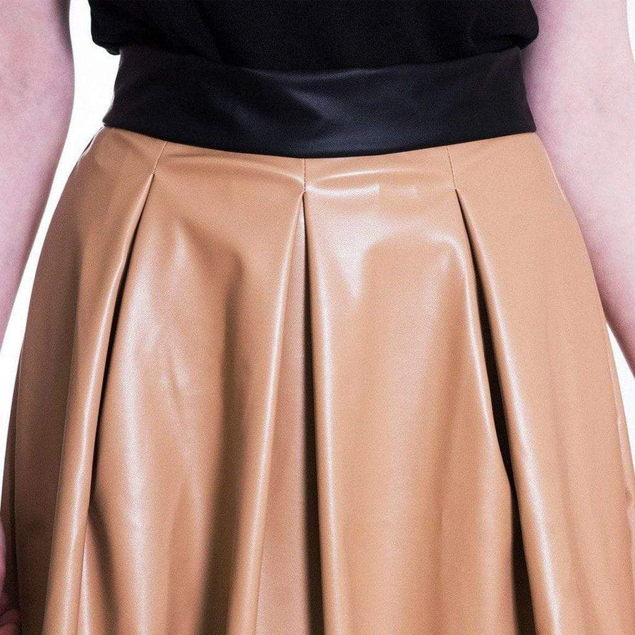 Nude Faux Leather Skirt WE Skirts