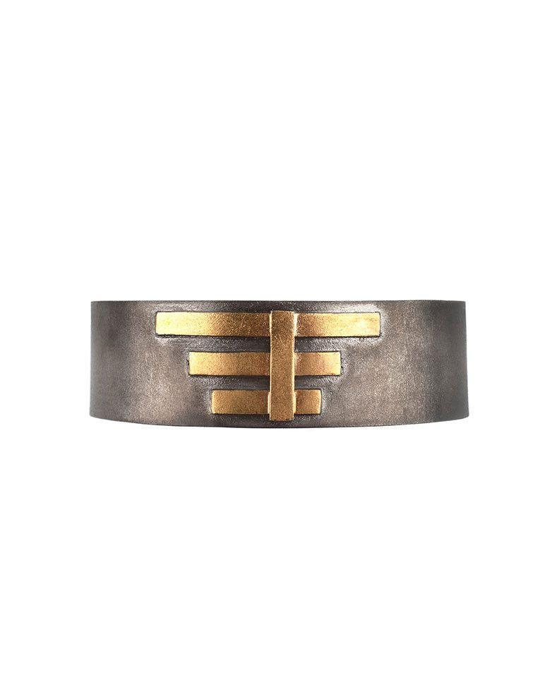Oxidised Sterling Silver Bracelet with Thick Gold Bars - Zeynep Alppay - Eponymous