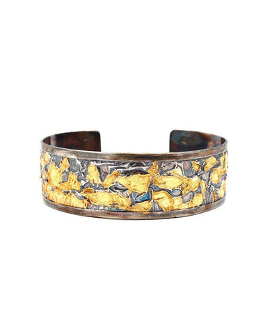 Oxidised Sterling Silver Cuff with 24 Karat Gold Leaf Zeynep Alppay Fine Jewellery