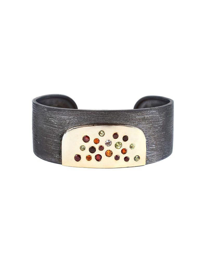 Oxidised Sterling Silver Cuff with Coloured Gemstones Zeynep Alppay Fine Jewellery