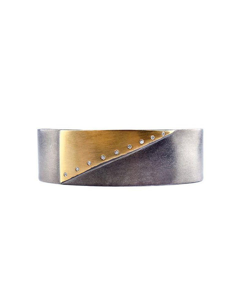 Oxidised Sterling Silver Diamond Bracelet with 14 Karat Gold Triangle Zeynep Alppay Fine Jewellery