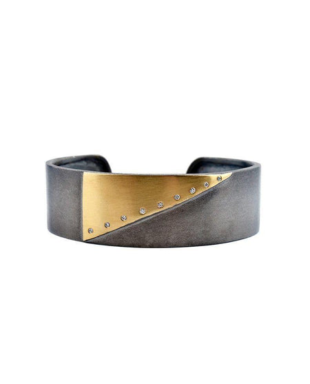 Oxidised Sterling Silver Helix Cuff with 24 Karat Gold Leaf
