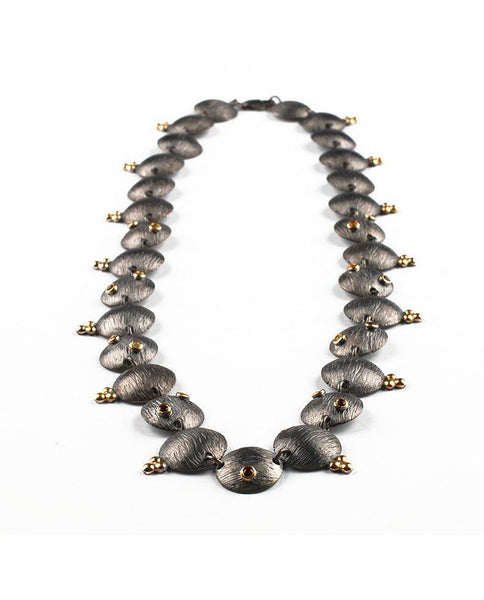 Oxidised Sterling Silver Necklace with Coloured Stones Zeynep Alppay Fine Jewellery