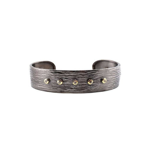 Oxidised Sterling Silver Slim Cuff with Diamonds Zeynep Alppay Cuffs
