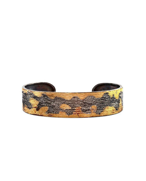 Oxidised Sterling Silver Thin Cuff with 24 Karat Gold Leaf Zeynep Alppay Fine Jewellery