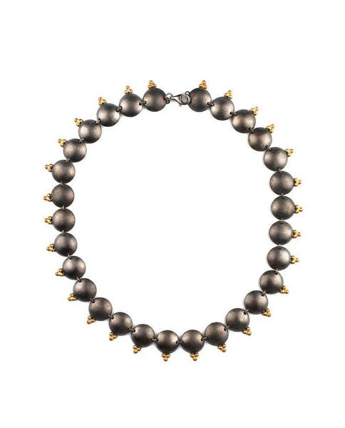 Oxidized Sterling Silver Three Beaded Necklace Zeynep Alppay Fine Jewellery