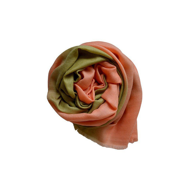 Pastel Green & Peach Ombre Cashmere Scarf KOPḖ London Cashmere Scarves