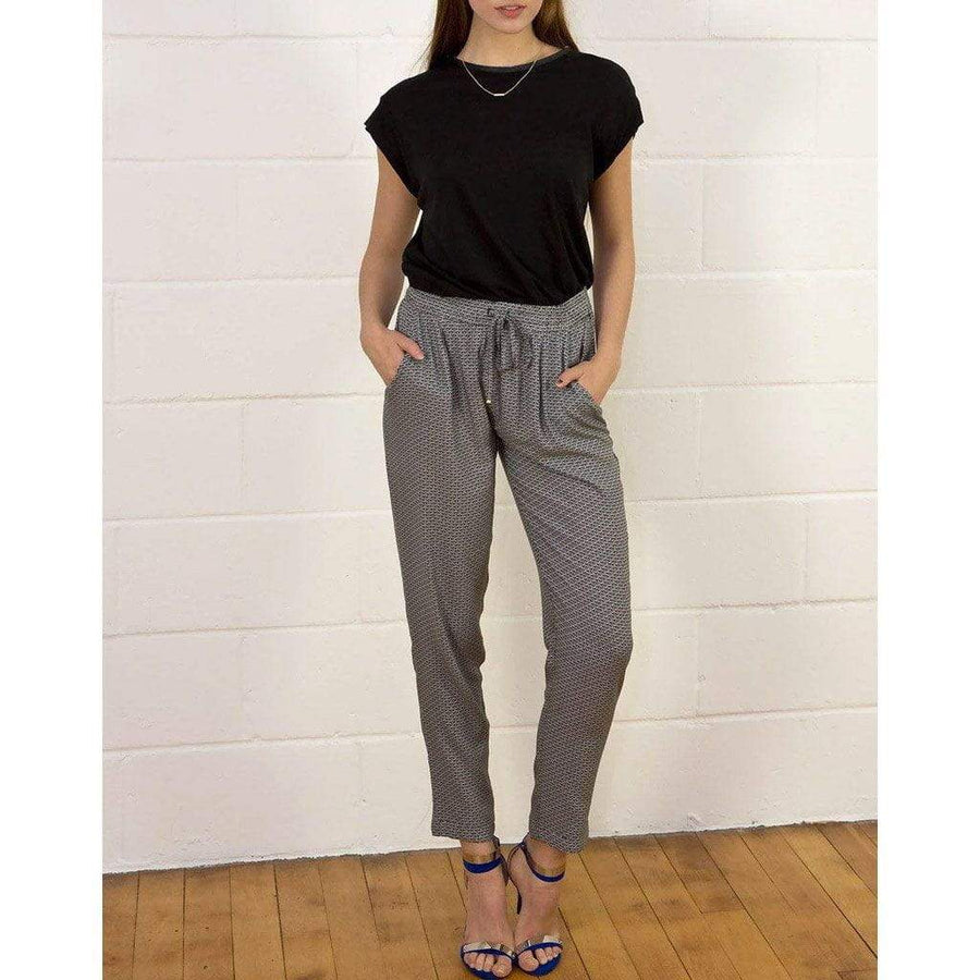 Patterned Drawstring Trousers - WE - Eponymous