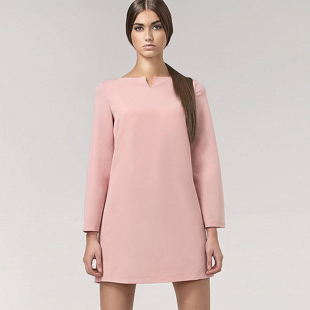 Pink 60s Shift Dress with Bell Sleeves