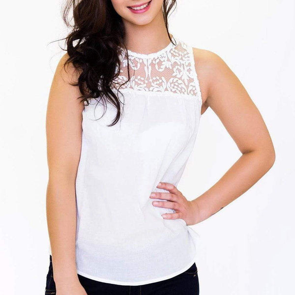 Sleeveless Lace Detail Top WE Tops