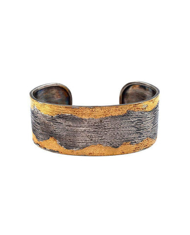 Sterling Silver Wide Cuff with 24 Karat Gold Leaf Zeynep Alppay Fine Jewellery