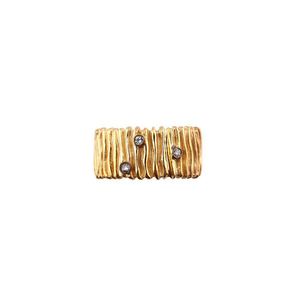 Textured Ring with Diamonds Zeynep Alppay Rings
