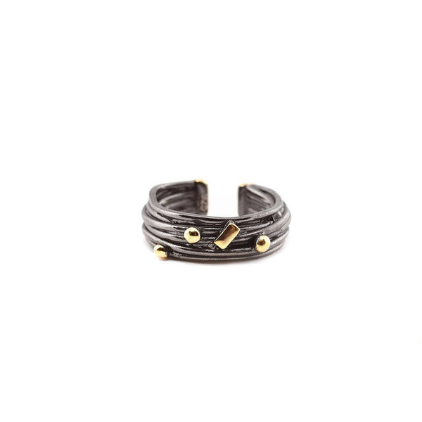 Textured Sterling Silver Ring with Gold Plated Detailing Zeynep Alppay Rings