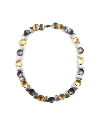 Tricolor Round Silver Necklace Zeynep Alppay Fine Jewellery