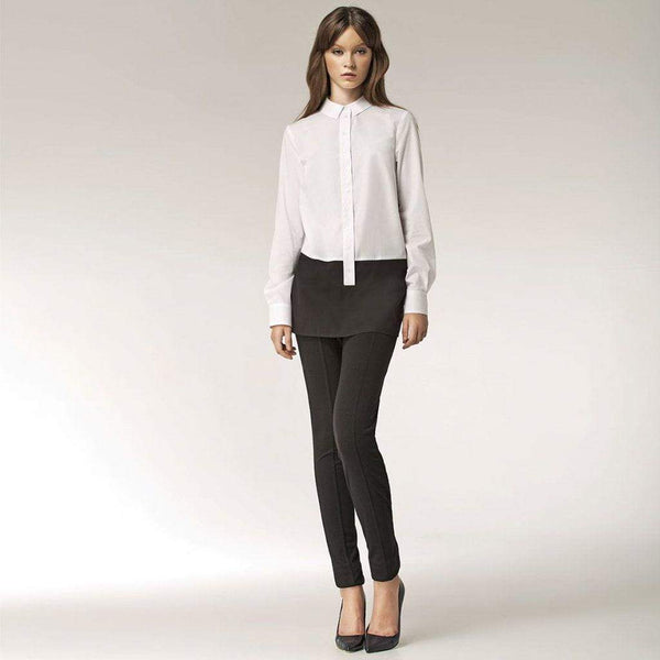 White Tunic Shirt with Black Contrast Detail Nife Shirts