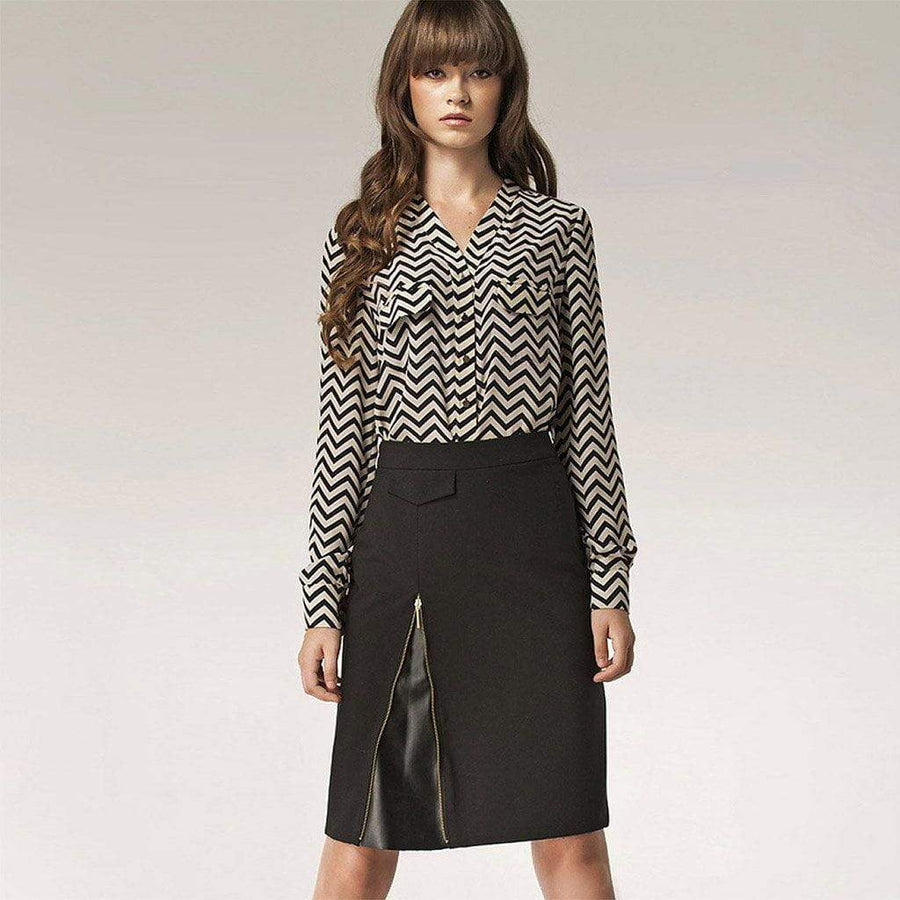 Zip Detail Pencil Skirt - Nife - Eponymous