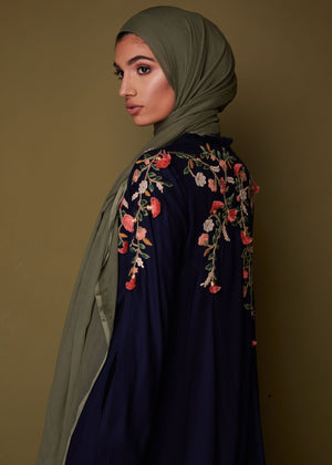 3D Crochet Flowers Abaya in navy  by Aab