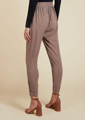 Gold Button Trouser Raw Taupe
