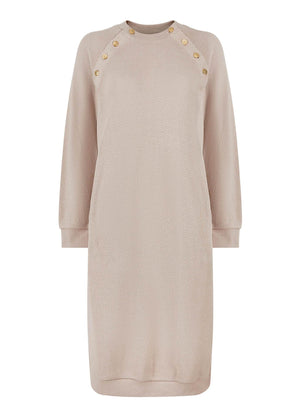 Button Embellished Jumper Dress Nude