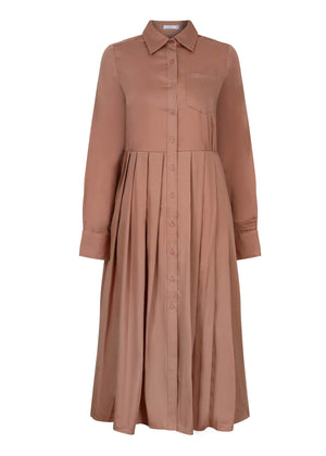 Pleated Shirt Dress Warm Coral