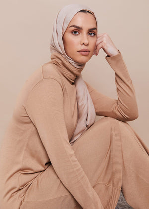 Roll Neck Midi Beige