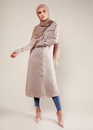 Utility Shirt Dress Mauve