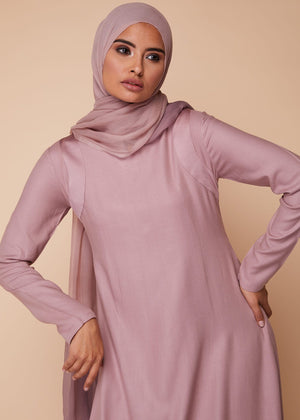 Back Pleat Abaya in Pink by Aab
