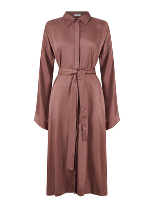 Belted Shirt Dress Rosewood