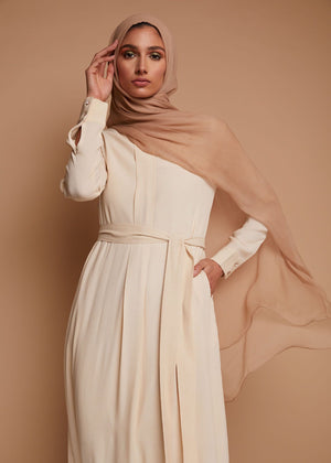 Box Pleat Abaya Vanilla