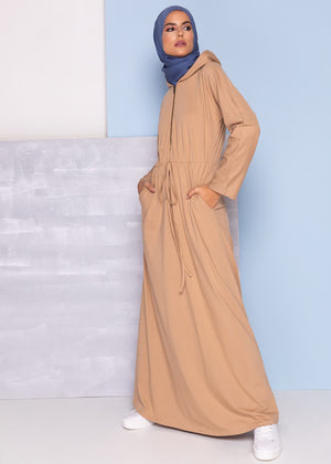 Hooded Abaya Wheat Aab