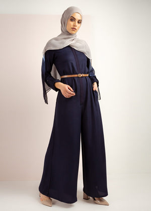 Long Line Jumpsuit Navy Aab